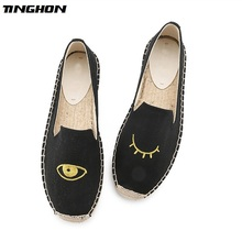 TINGHON Fashion Women Ladies Espadrille Shoes Canvas Embroidered Eyes Rome Ankle Strap Hemps Flats