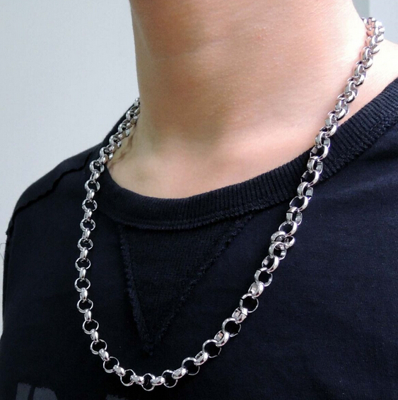 """10mm 18/""""-32/"""" Huge Silver Stainless Steel Round Rolo Link Necklace Chain for Men"""