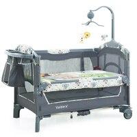 2019 детская кровать детские кроватки для близнецов младенцев Valdera EU Multifunctional складная детская кровать брендовая дорожная игровая кровать дв