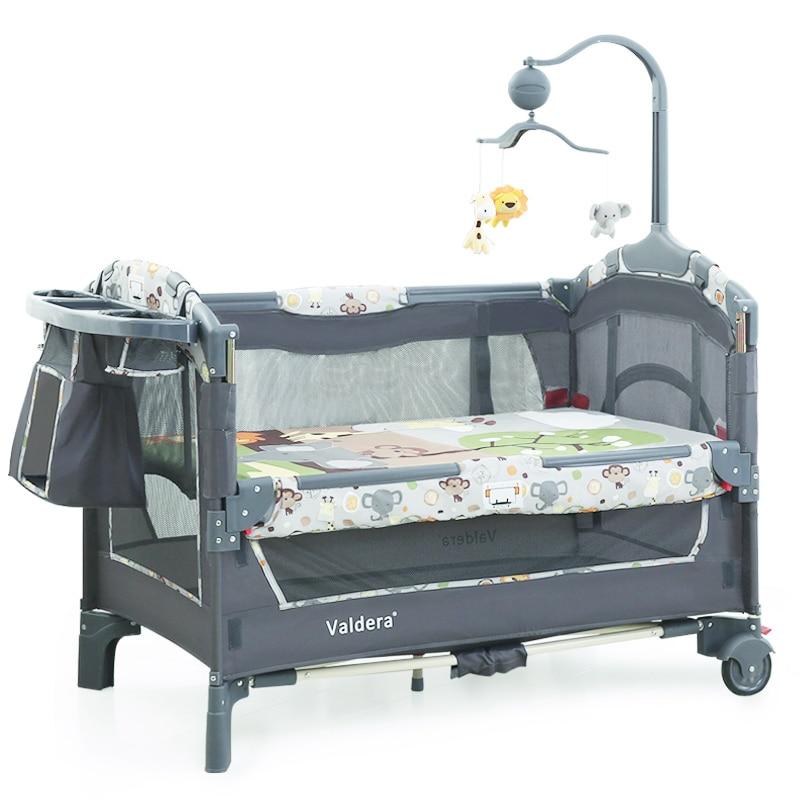 2019 cama de bebé niños cunas para los gemelos bebés Valdera UE multifuncional plegable cama de bebé marca viajes juego de cama de dos- capa de la cama