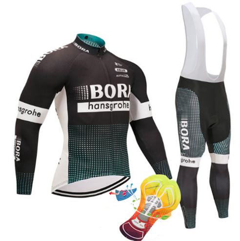 Neue 2018 Bora Radtrikot Set Long Sleeve 16d Gel Padded Satze Kleidung MTB Schutzkleidung Radfahren Zyklus Kleidung schwarz