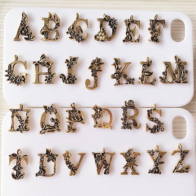 newest floral alloy letters charms wholesale 52pcslot dull gold tone metal bracelet necklace initial