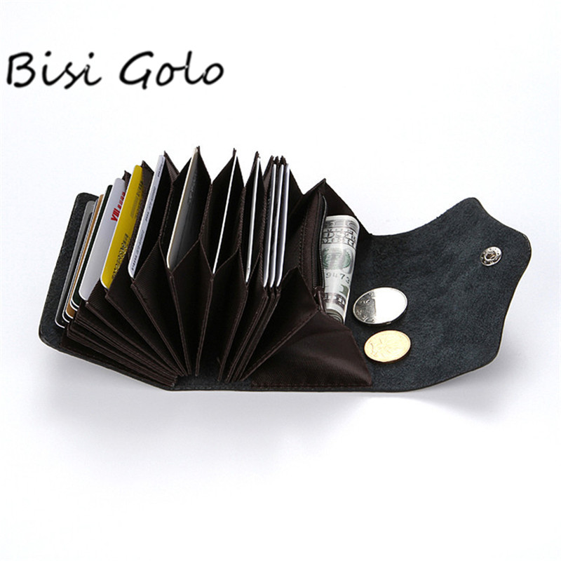 BISI GORO Unisex Genuine Leather Card Holders Wallet Buckle 2018 Bank ID Credit Card Case Business RFID Coin Purse Card Package 2018 pu leather unisex business card holder wallet bank credit card case id holders women cardholder porte carte card case