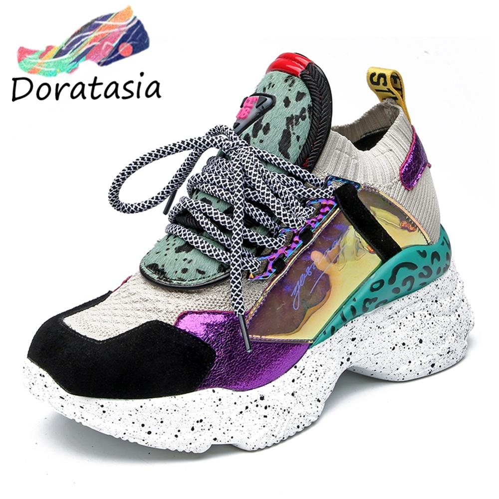 DORATASIA New Genuine Leather Suede Sock Sneakers Women 2019 Autumn Horsehair Decorating High Shoes Women Casual Dad Shoes Woman(China)