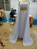 Real Photo Sheath Bat Sleeves Middle East Muslim Women Girl Strapless Chiffon Gold Appliques Prom Eveing Formal Gown Dresses