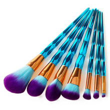 Peacock Blue Diamond Makeup Brushes Set 7 pcs /set Mermaid Eyeshadow Powder Facial Foundation Cosmetic Brush Kit