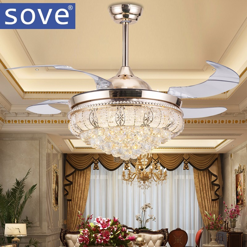 42 Inch Modern Led <font><b>Ceiling</b></font> Crystal <font><b>Chandelier</b></font> fan Lights Living Dining Room Folding Fan Lamp With Remote Control 220 Volt Fan