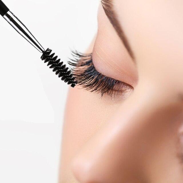 6 Pcs עין איפור מברשת כפול הסתיים גבות ריס מברשות עץ ידית עין מסקרה קוסמטי מיקרו גבות מברשת מסרק כלים