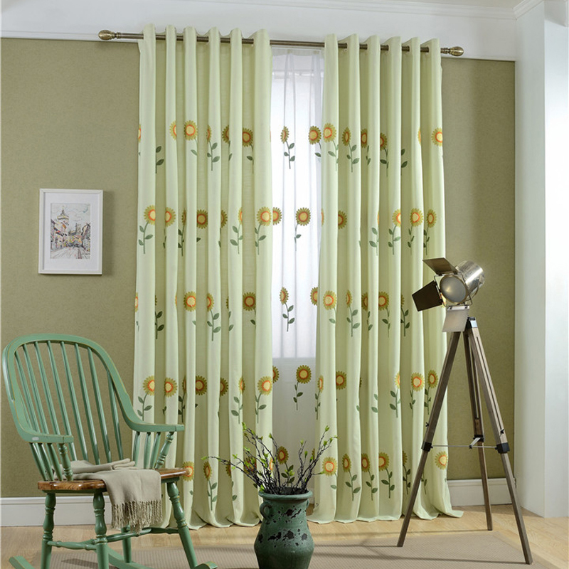 Lovely Sun Flower Embroidered Cloth Cute Curtains For Window Treatments Living  Room Custom Made Cotton Curtains Part 8