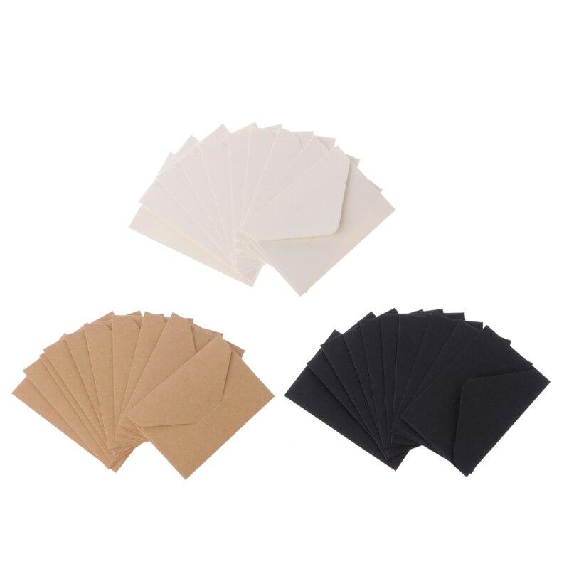 1 Set 50pcs/lot Craft Paper Envelopes Vintage European Style Envelope For Card Scrapbooking Gift Kraft Paper Black