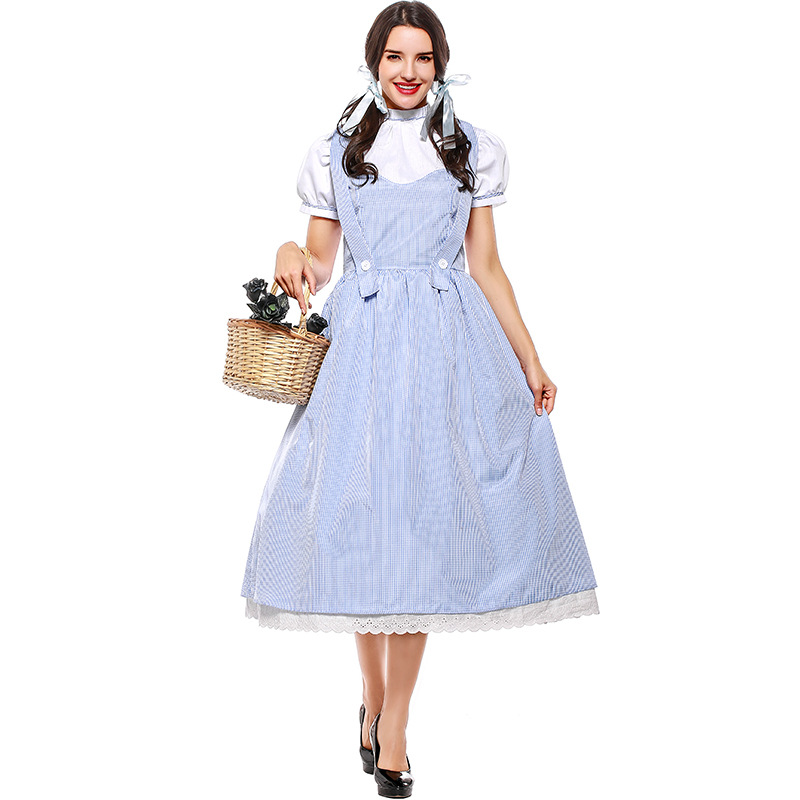Amine Wizard of Oz Dorothy Gale Dress Costumes Cosplay For Girls and Woman Halloween Party Dress Costume Plus Size