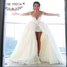 9d0df639f Rosa Moda de encaje corto vestido de boda Boho 2019 con falda desmontable  alta baja y vestidos de novia de encaje vestido de rec.