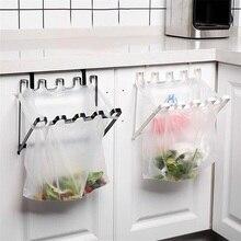 Foldable Door Back Hanging Trash Rack Storage Kitchen Garbage Rubbish Bag Can Holder Cabinet