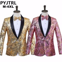 PYJTRL Mens Pink Gold Flower Sequins Fancy Paillette Wedding Singer Stage Performance Suit Jacket Annual DJ Blazer With Bow Tie