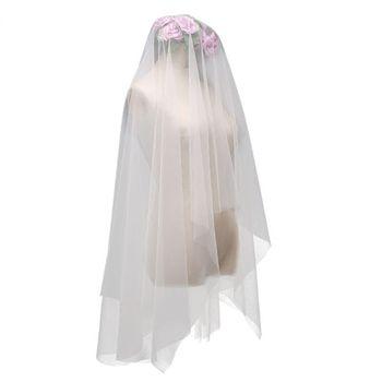 Minimalist Simple Style 2 Tier Double-Layer Women Mesh Fingertip Length Wedding Veil Plain Pleated Drape Bridal Veil With Comb Bridal Veils