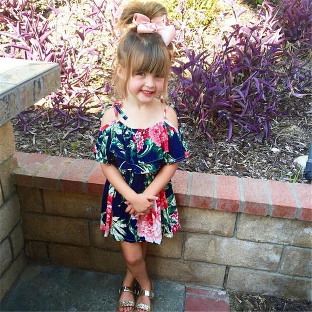 Baby Girls Dress Off Shoulder Skater Kids Girls Big Flower Summer