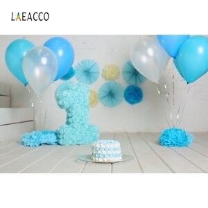 Image 3 - Laeacco ילדי יום הולדת Photophone לבן קיר בלוני דגלון הגה תמונה תפאורות תינוק דיוקן צילום רקעים