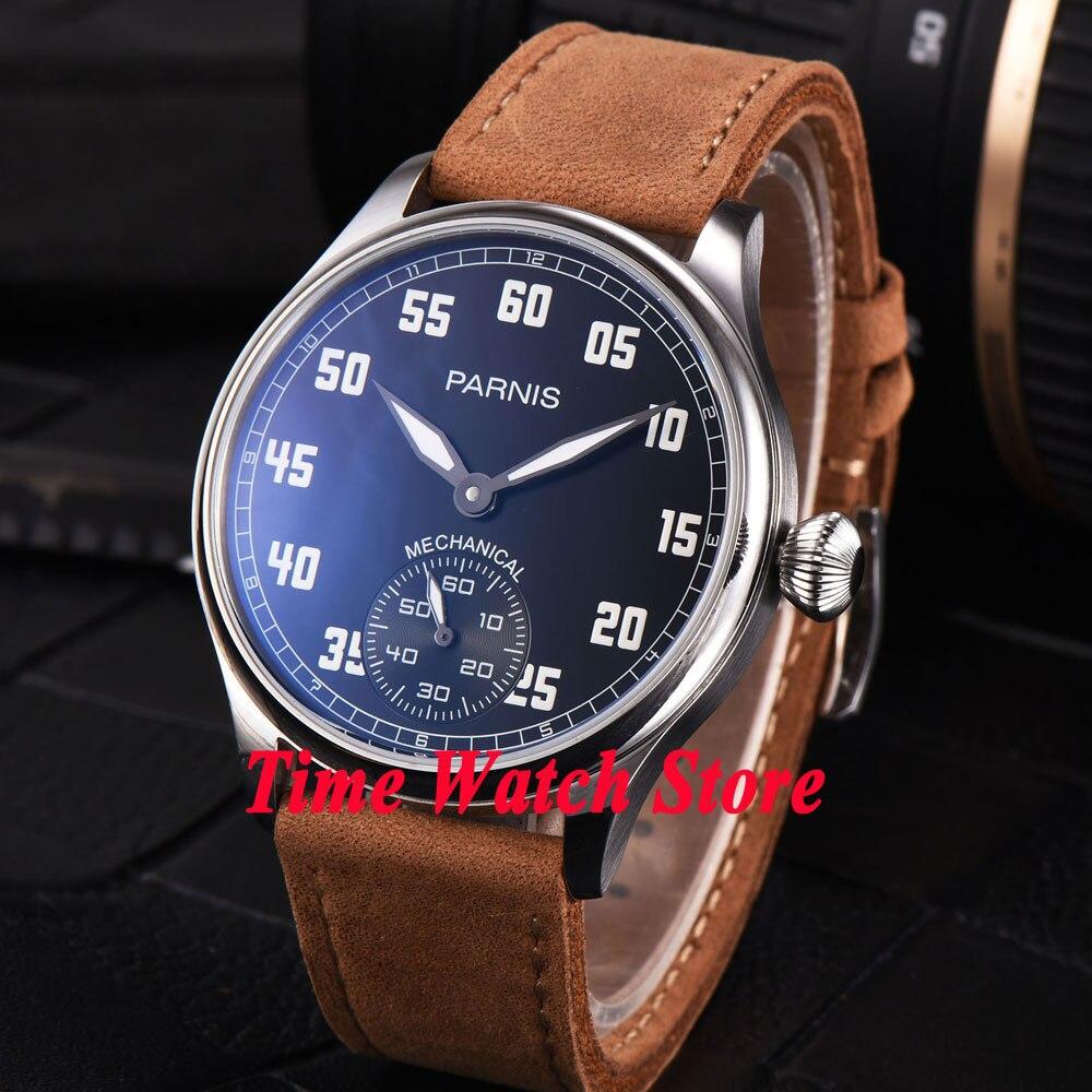 44mm Parnis black dial luminous 17 jewels mechanical 6498 hand winding movement mens watch 792 цена и фото