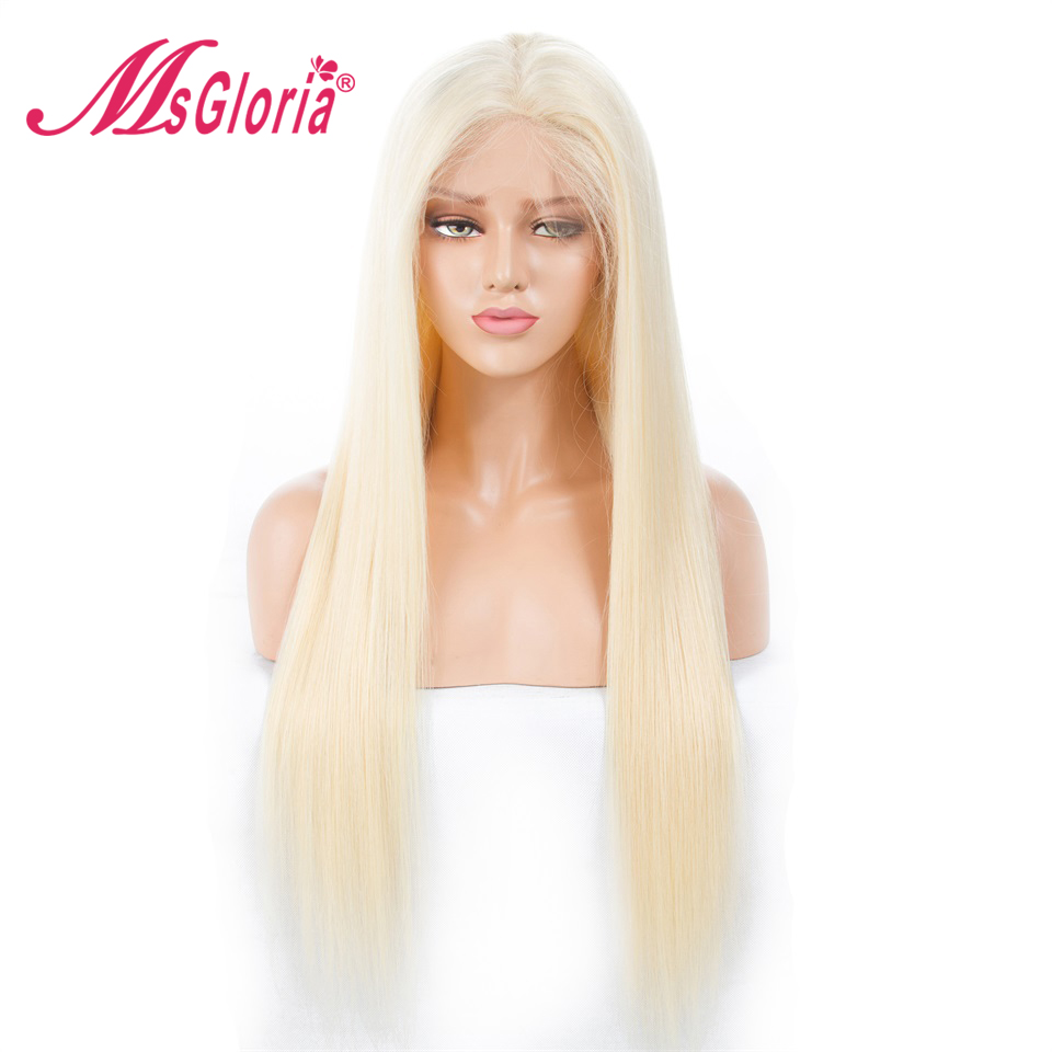 Msgloria 60 Blonde Silky Straight Peruvian Remy Lace Front Human Hair Wigs For Women Full Lace