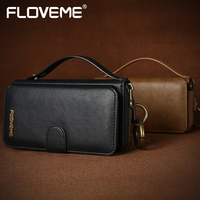 FLOVEME Leather Wallet Case For Samsung Galaxy S6 S7 Edge Kickstand Flip Cover PU Purse Vintage