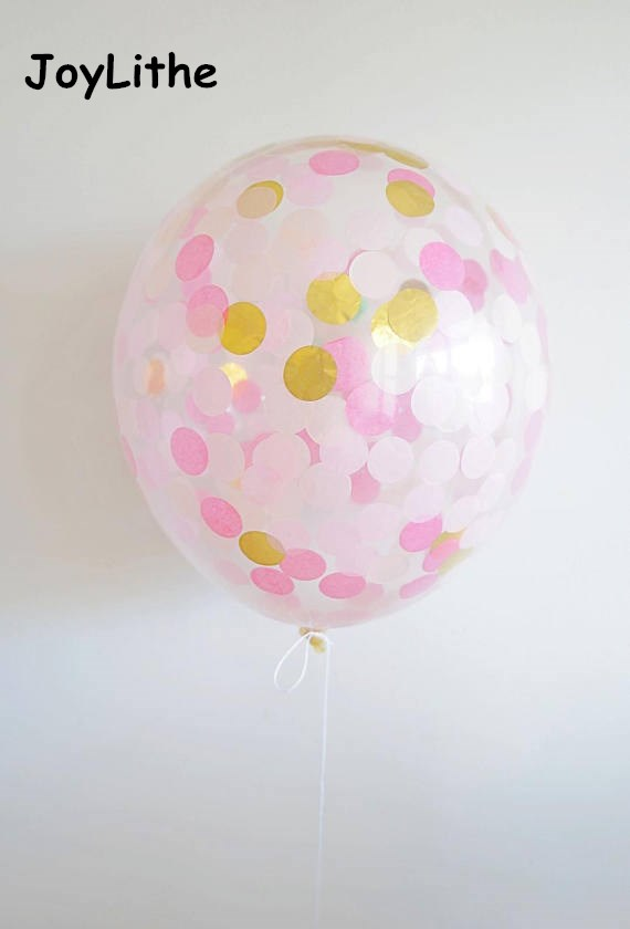 Pink and Gold Confetti Balloon 12 Confetti Balloon Pre-Filled Confetti Balloon Wedding Birthday Party Baby shower Bridal Shower