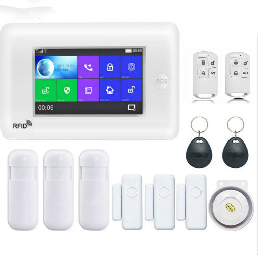 Security All Touch Screen Alexa Version 433MHz wireless WIFI 3G SIM Smart Home Security Monitor Burglar Alarm System Kits