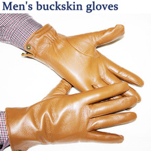 Sheepskin gloves men's autumn and winter plus velvet warm buckskin pattern champagne leather gloves все цены