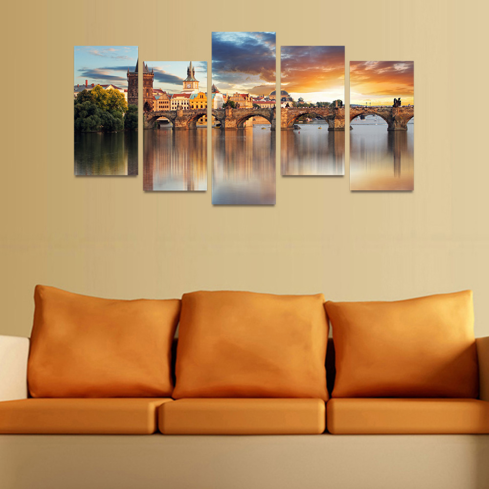 5 Panels Canvas Print European Old Bridge Painting for Living Room ...