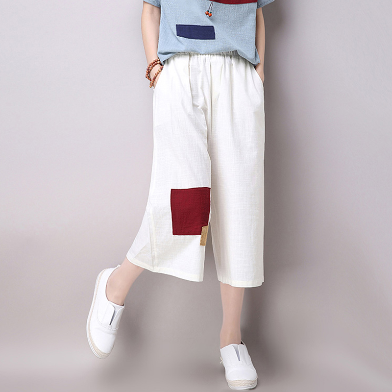c31e75bf6e3 Fashion Linen Cotton Women Wide Leg Cropped Pants 2016 Summer New Casual  Loose Elastic Waist Straight Trousers Culotte Plus Size