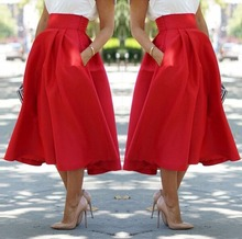 Starlist woman high waist red A-Line cotton skirts fashion sexy ankle-length empire solid sexy big swing skirts Bottoms