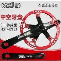 Meijun 45 t 47 t 53 t 라이트 알루미늄 합금 단일 속도 스프로킷 휠 크랭크 bcd130mm 412 접는 수정