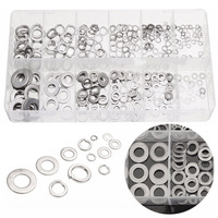 350pcs 12 Sizes Flat Washers Stainless Steel Flat Spring Lock Washers Assortment Kit Box