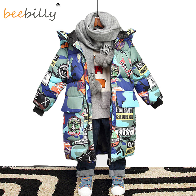 Chaqueta para niños nueva marca 2018 con capucha chaquetas de invierno Graffiti camuflaje Parkas para niños adolescentes largo grueso abrigo de ropa para niños