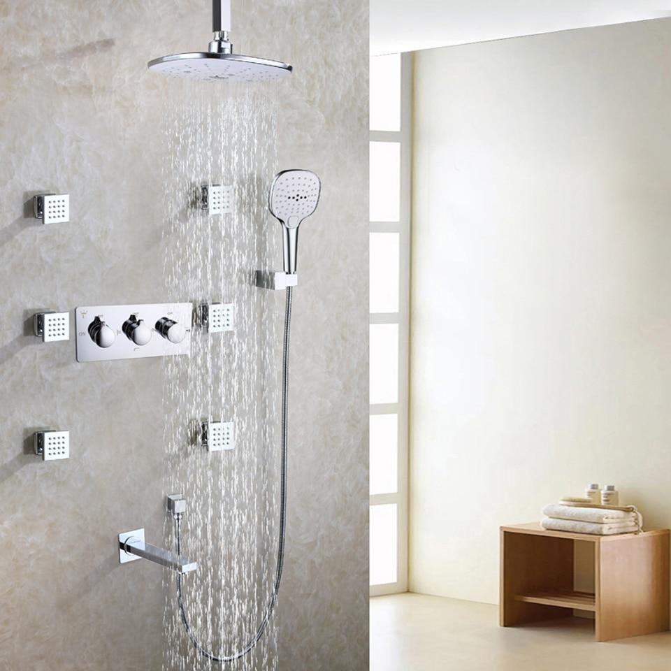 White Bathroom Shower Faucet Set Rain Chrome Bath Shower Head Bath ...