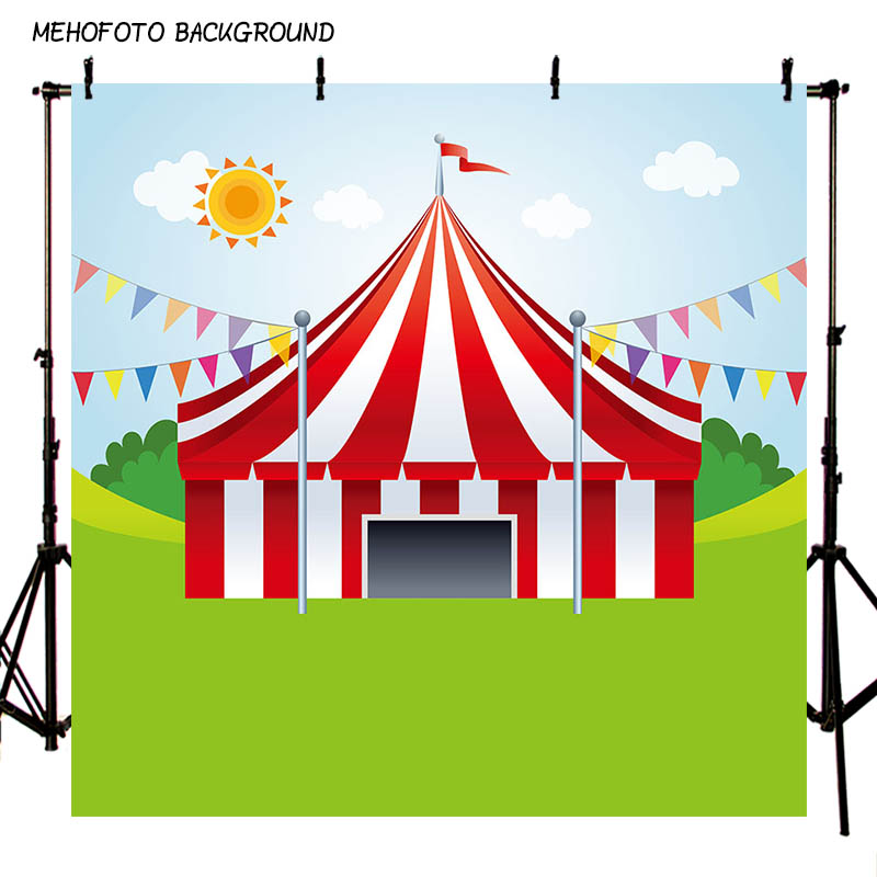 MEHOFOTO Children Circus Birthday Party Photo Background 5x5ft Thin Vinyl Photography Backdrops for Photo Studio Custom LV-082 circus banner party backdrops vinyl cloth computer printed children photo background circus