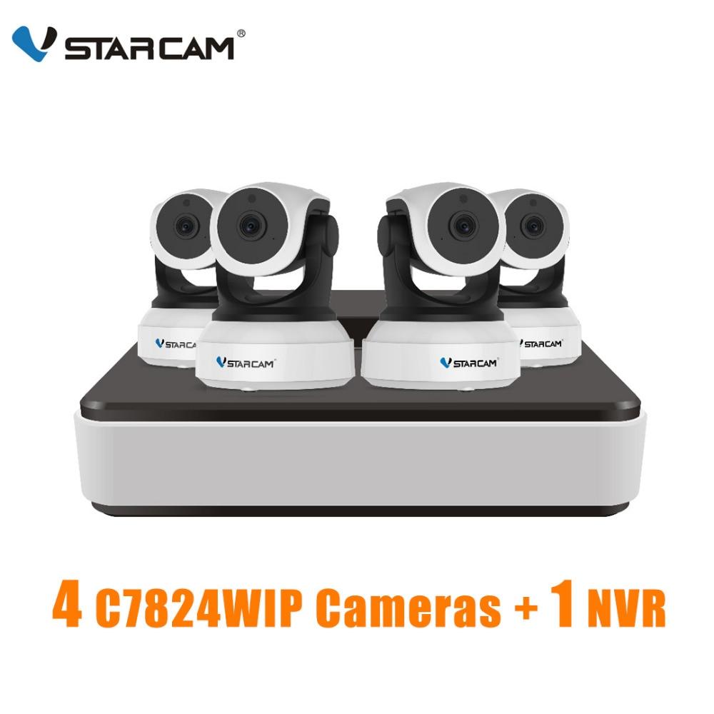 VStarcam 1 NVR 4CH + 4 шт. C7824WIP HD Беспроводная ip-камера IR-Cut ночного видения аудио запись сети видеонаблюдения Крытый IP