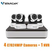 VStarcam 1 NVR 4CH + 4 шт. C7824WIP 720 P HD Беспроводная ip-камера IR-Cut ночного видения аудио запись сети видеонаблюдения внутренняя ip-камера