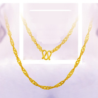Pure Yellow Gold Water Wave Chain Necklace/ 999 gold 24K Necklace Chain 2.8 4.4g