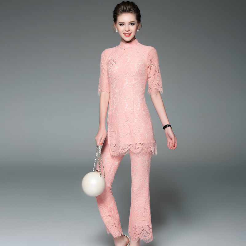 Pants Suit Women 2017 Spring Pink Elegant Lace Flare Vintage Sexy Half Sleeve Cheongsam Tops + Ankle-Length Pant 2 PCS Set