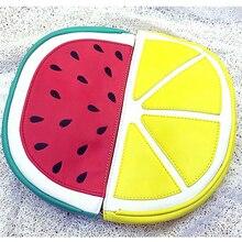 Personalized fashion design watermelon lemon  pu leather clutch evening bags casual fashion chain shoulder bag lady purse wallet