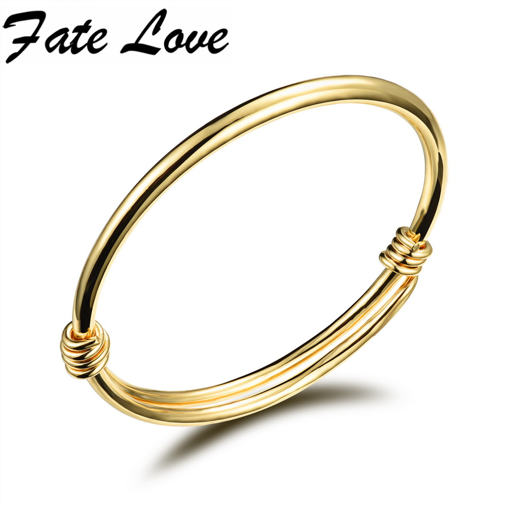 Fate Love Fashion Accessory Gold Color Classic Open Bangles Size Adjustable Children Jewelry Bracelet Charm Gift For Girl FL486