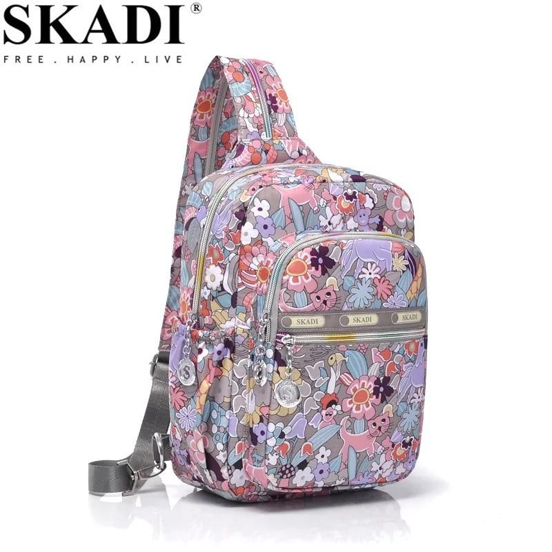 SKADI New Brand Designer Chest pack Multipurpose Bags Casual Women's Shoulder Bag For Female Flowers Travel Chest Bags Pack skadi s 152