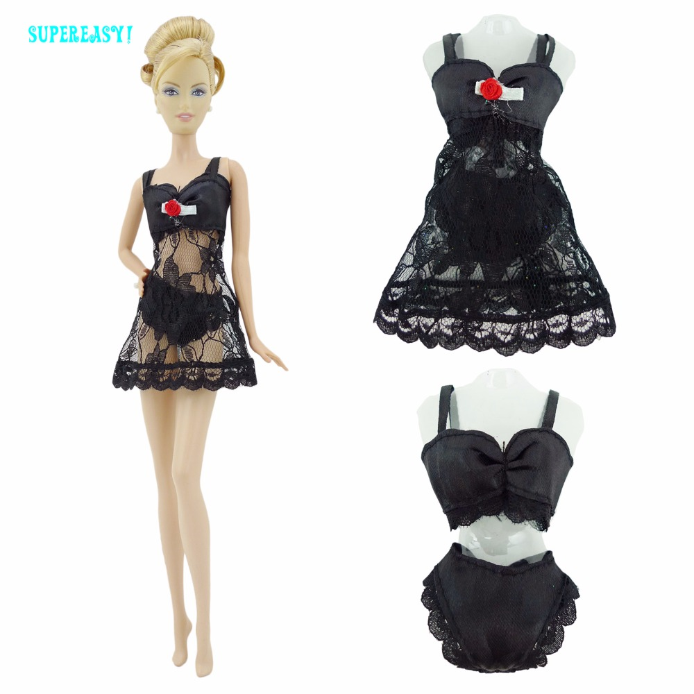 Free Shipping  Black  Sexy Pajamas Lingerie Nightwear Lace Night Dress + Bra + Underwear Clothes For Barbie Doll Skirt Clothes
