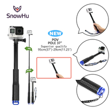 SnowHu 37 Extendable Handheld POV Pole Telescopic Monopod Stick For GoPro Hero 7 6 5 4 3 Sjcam eken h9 Yi 4K camera