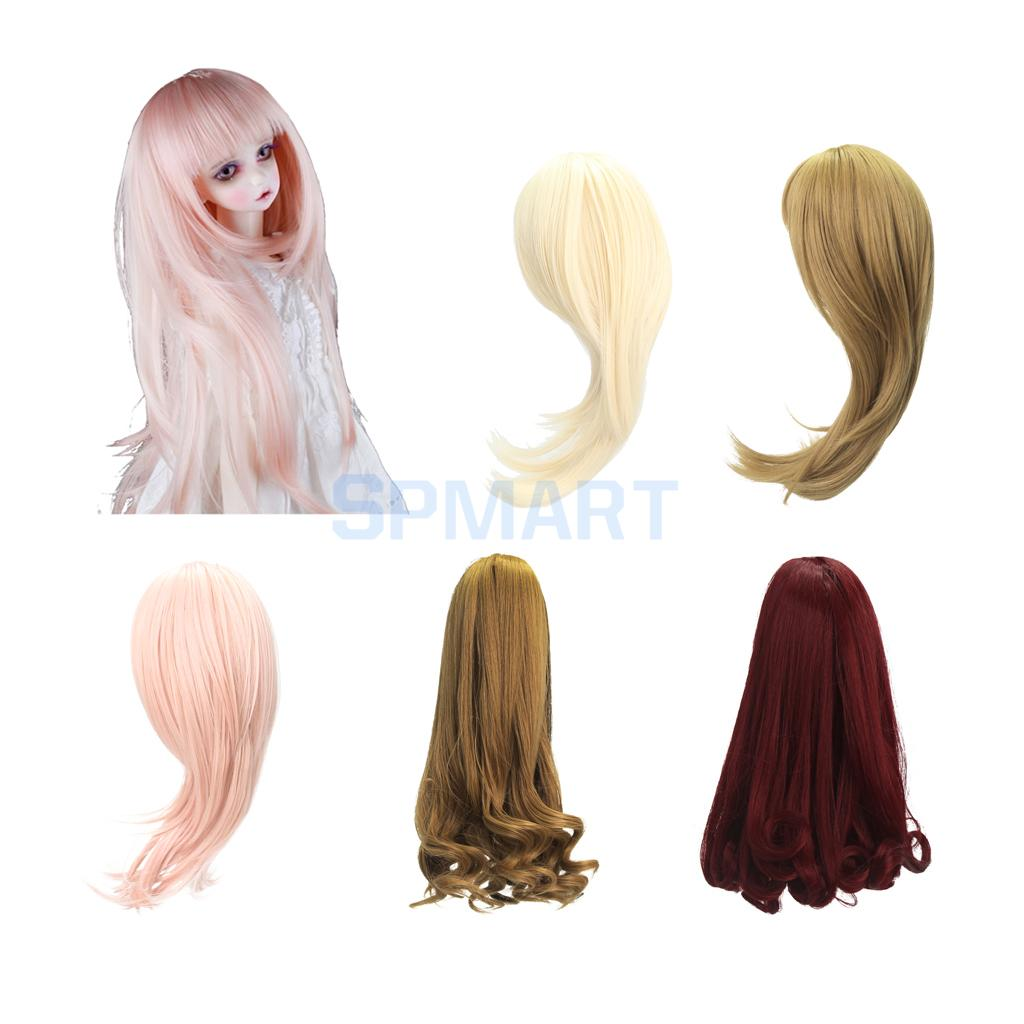5 Colors 3 Size Simulation Scalp Straight/Curly Wig Hair Hairpiece for 1/3 1/4 1/6 BJD SD DZ LUTS Dollfie DIY Making new 1 3 22 23cm 1 4 18 18 5cm bjd sd dod luts dollfie doll orange black short handsome wig