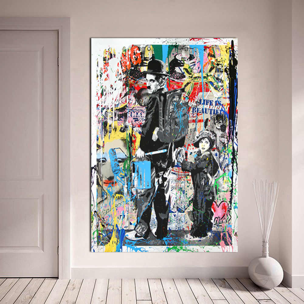 Modern Canvas Painting Abstract Graffiti Art Prints Charlie Chaplin Oil Painting Modern Wall Arts and Prints Living Room Decor