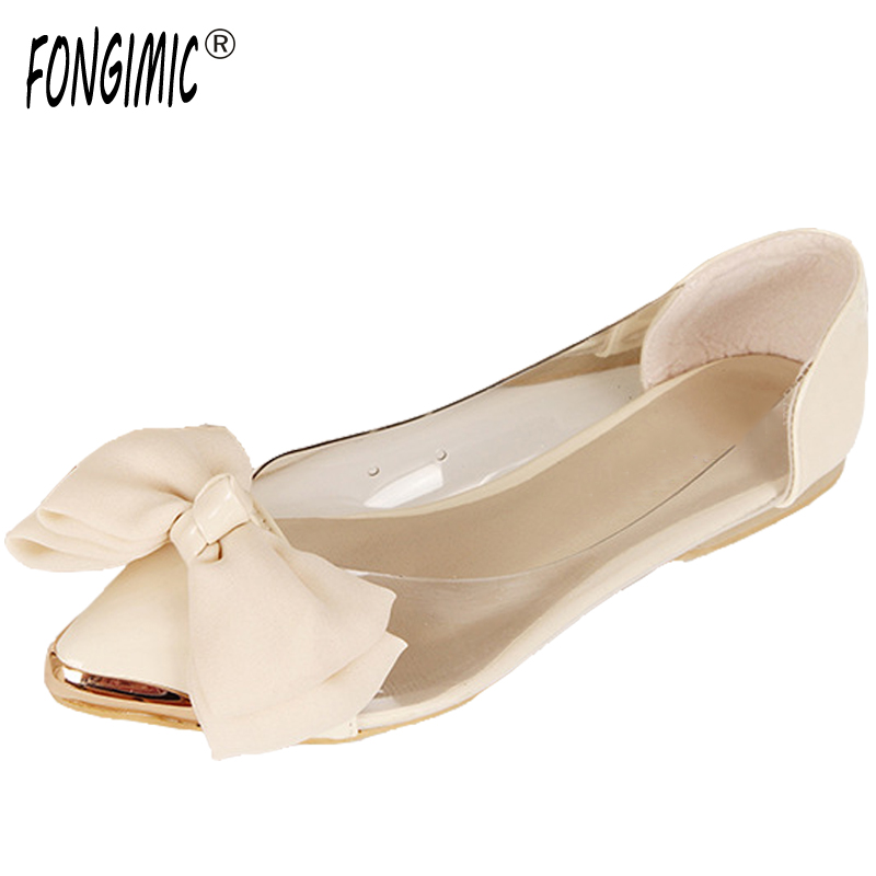 Women spring summer bowtie pointed toe flat shoes sweet cute transparent leather solid slip on lady casual flats boat shoes new 2017 spring summer women shoes pointed toe high quality brand fashion womens flats ladies plus size 41 sweet flock t179