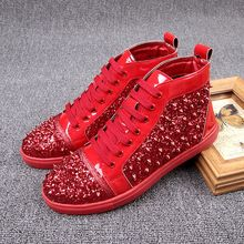 men fashion luxury paillette spring autumn rivets ankle boots young stage nightclub dress lace-up flats platform shoes bling