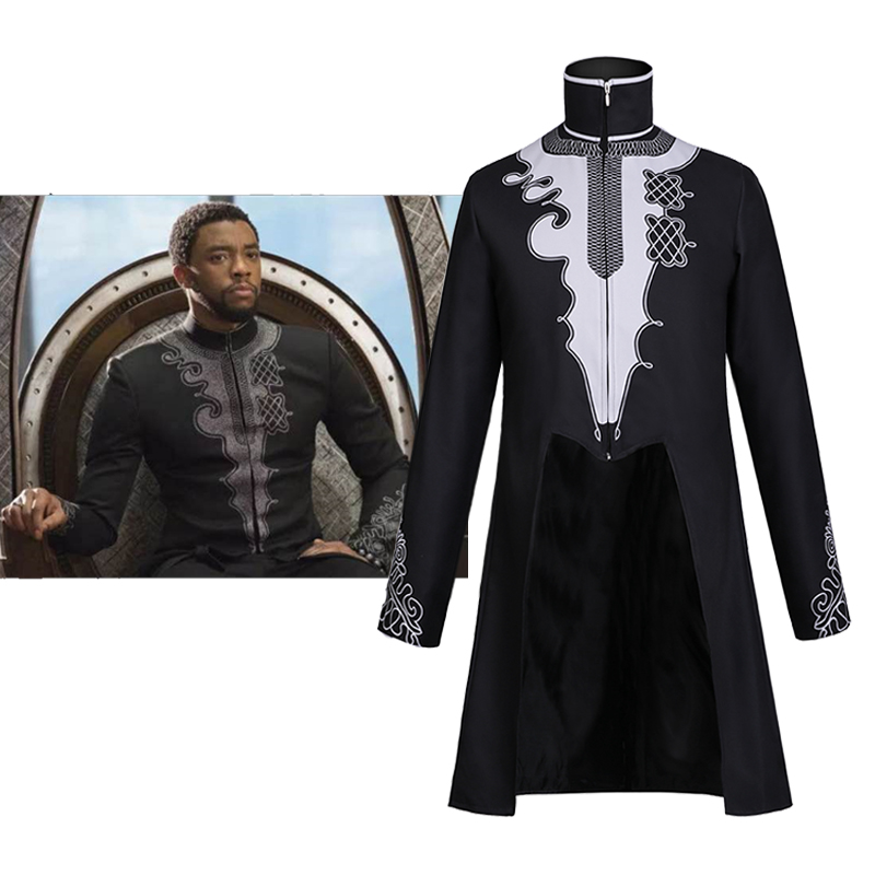 Movie Black Panther Jacket Cosplay Costume Superhero Coat T Challa Black Jacket Halloween Fancy Clothes Carnival Suit Adult Men