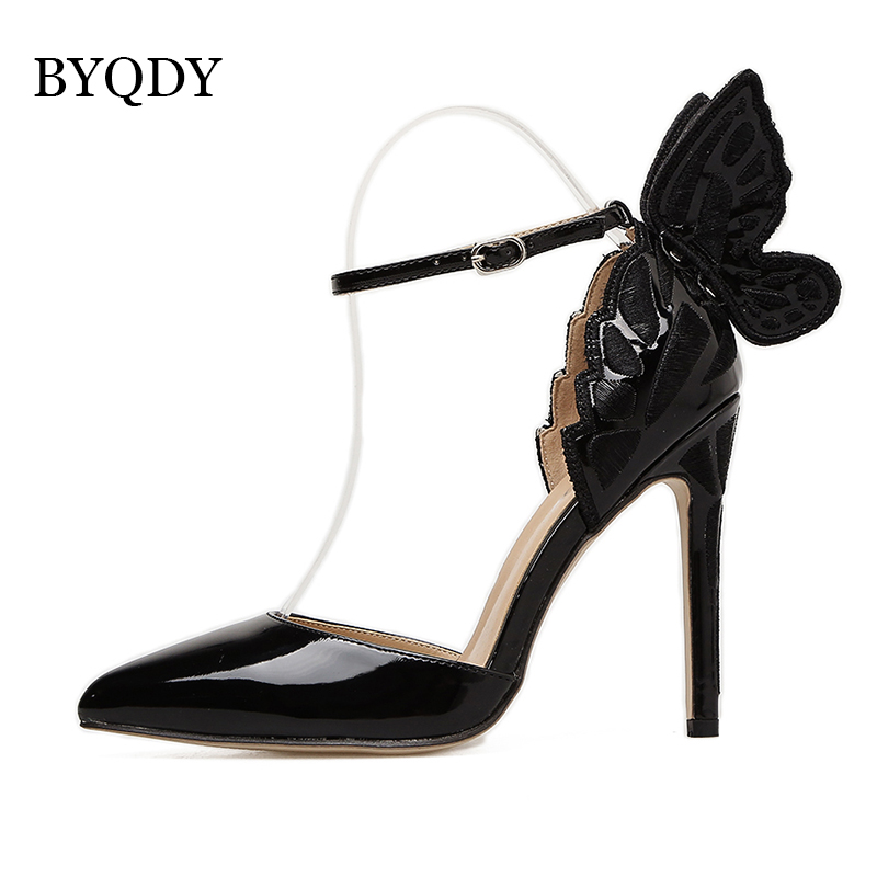 BYQDY Fashion Butterfly Wing Top Sold Buckle Strap Women Pumps Sexy Pointed Toe High Heel Women Party Shoes Size 35 40 in Women 39 s Pumps from Shoes